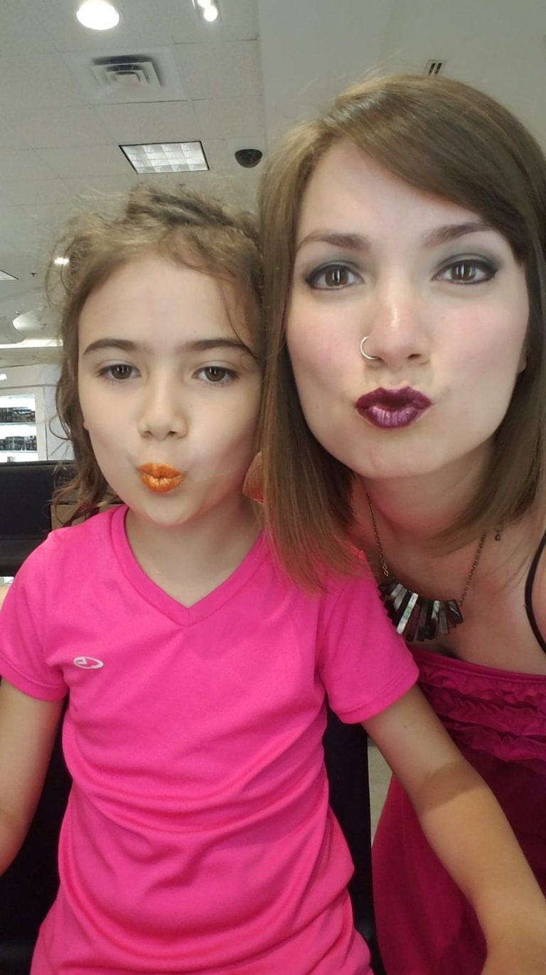 Nikole and her daughter bonding with lipstick on. For sure a way to take your power back